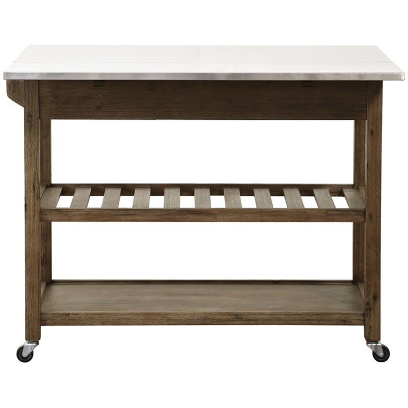 Boraam Drop Leaf Kitchen Cart in Wire Brush Driftwood and White