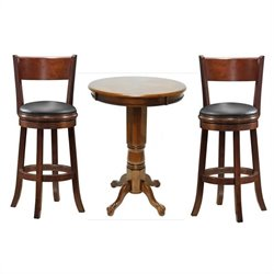 Boraam 3 Piece Pub Table Set in Walnut