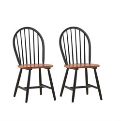 Boraam Farmhouse Wood Dining Side Chair in Black and Cherry (Set of Two)