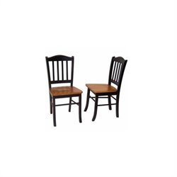 Boraam Shaker Wood Dining Side Chair in Black and Oak (Set of Two)