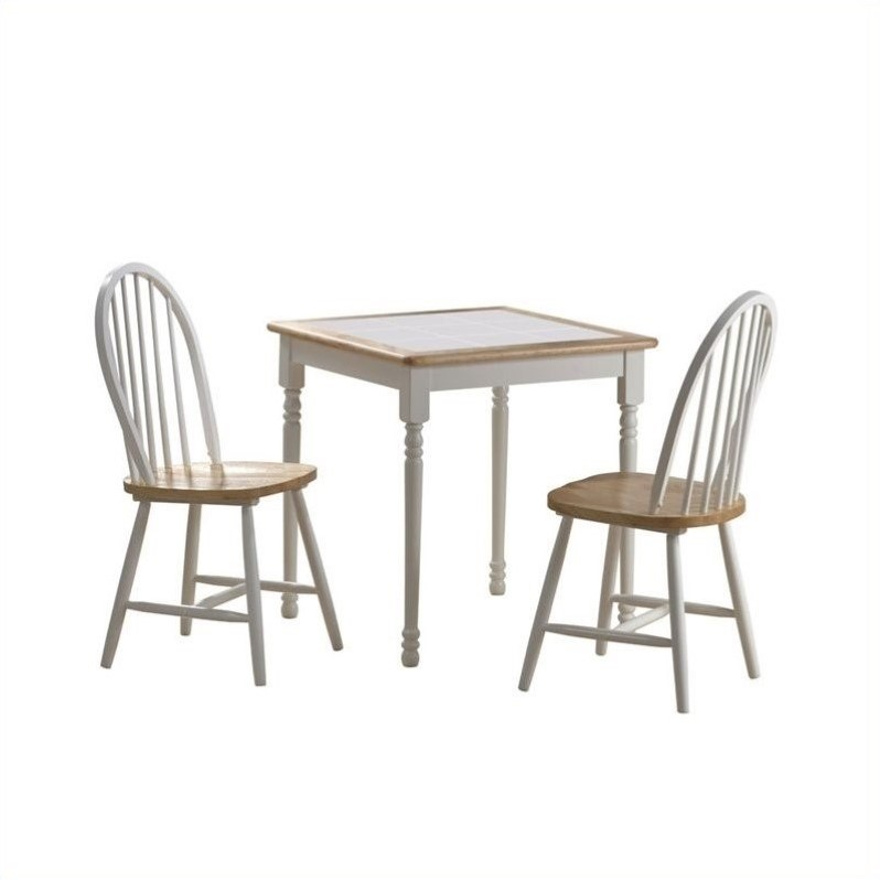 Square 3 piece dinette set in white and natural 70301 for Square dinette sets