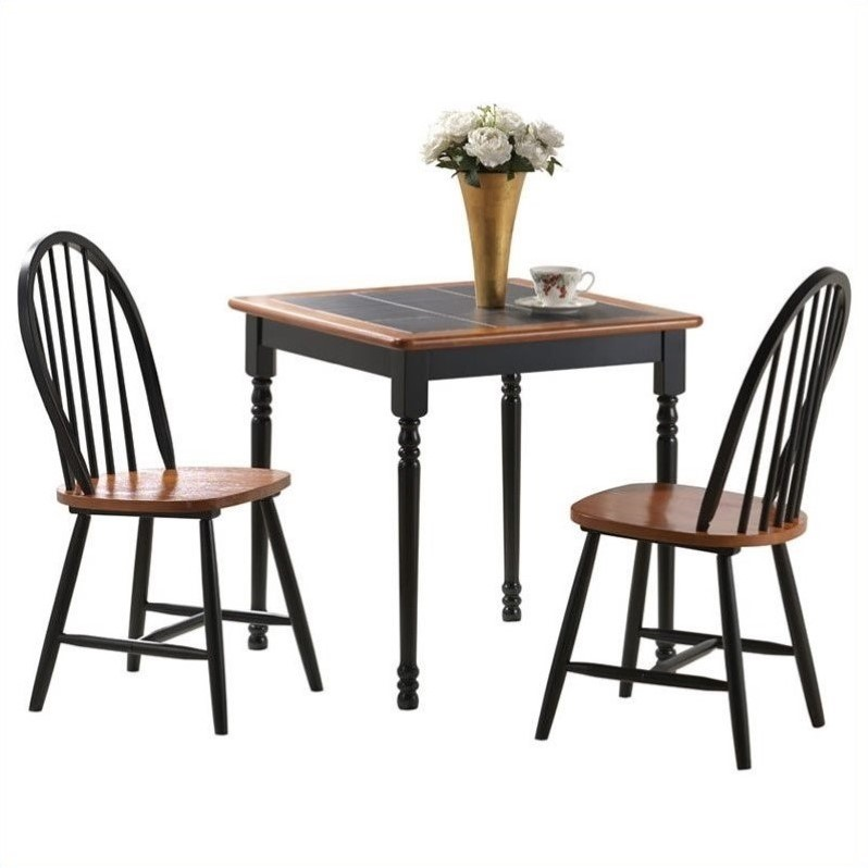 Square 3 piece dinette set in black and cherry 70305 for Square dinette sets