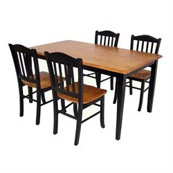 Boraam Shaker 5 Piece Dining Set in Black and Oak