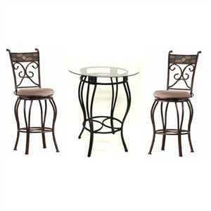 Counter Height Metal 3 Pieces Pub Set in Black and Gold