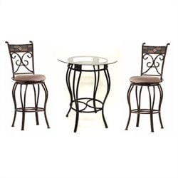 Boraam Beau Counter Height Metal 3 Pieces Pub Set in Black and Gold
