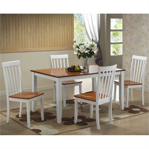 5 Piece Dining Set in White/Honey Oak
