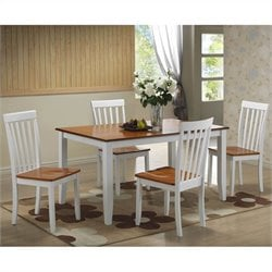 Boraam Bloomington 5 Piece Dining Set in White/Honey Oak