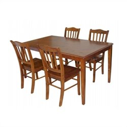 Boraam 5 Piece Shaker Dining Set in Walnut