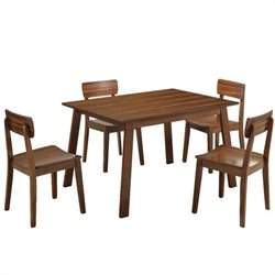 Boraam 5 Piece Hagen Dining Set in Rich Walnut