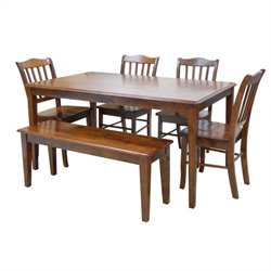 Boraam 6 Piece Shaker Dining Set in Walnut