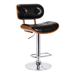 Boraam Smuk Adjustable Swivel Bar Stool in Black