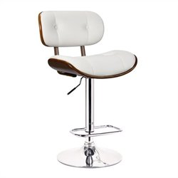Boraam Smuk Adjustable Swivel Bar Stool in White