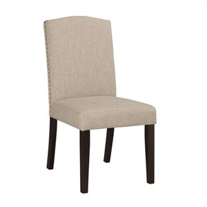 Boraam Champagne Parsons Upholstery Dining Chairs (Set of 2) in Oatmeal