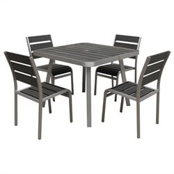 Boraam Brava 5 Piece Metal Patio Dining Set in Aluminum