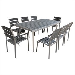 Boraam Santorini 9 Piece Metal Patio Dining Set in Aluminum