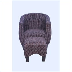 Boraam Havana Water Hyacinth Tub Chair And Ottoman