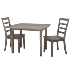 Boraam Boulder 3 Piece Dining Set in Driftwood Gray Wire Brush