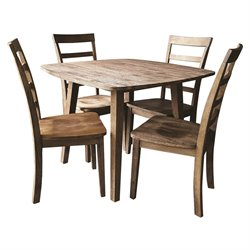 Boraam Boulder 5 Piece Dining Set in Driftwood Gray Wire Brush
