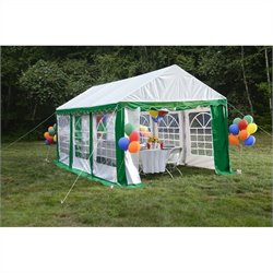 ShelterLogic 10'x20' Party Tent with Enclosure Kit in Green and White