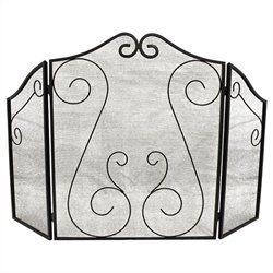 ShelterLogic Hearth Accessories Fireplace Scrollwork Screen in Black