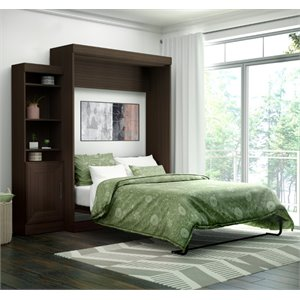 Edge Wall Bed with Storage (1 bookcae) in Dark Chocolate
