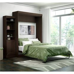 Bestar Edge Queen Wall Bed with Storage in Dark Chocolate
