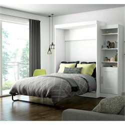 Edge Wall Bed with Storage (1 bookcae) in White