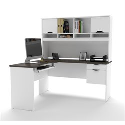 Bestar Innova L-Desk in White and Antigua