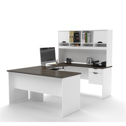 Bestar Innova U-Desk with Hutch in White and Antigua