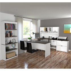 Bestar Innova 3 Piece Office Set in White and Antigua