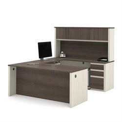 Bestar Prestige Plus U-Desk with Hutch in White Chocolate and Antigua