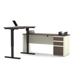 Bestar Prestige Plus Height Adjustable L-Desk in White Chocolate