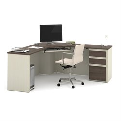 Bestar Prestige Plus Corner Desk in White Chocolate and Antigua