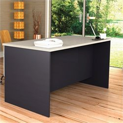 Bestar Hampton Home Office Computer Desk in Sand Granite & Charcoal