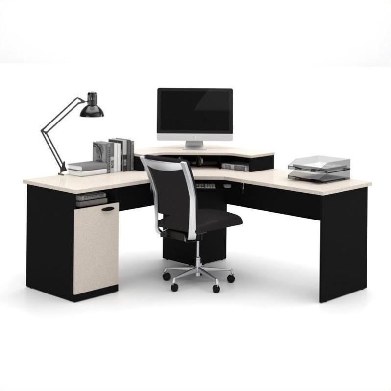 Bestar Hampton Corner Computer Desk in Sand Granite & Charcoal