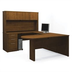 Bestar Embassy U-Shape Home Office Wood Desk Set with Hutch in Tuscany Brown