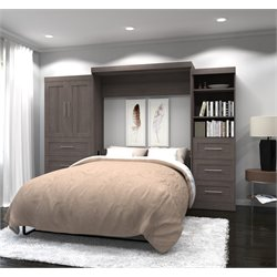 Bestar Pur Wall Bed with Storage in Bark Gray -D