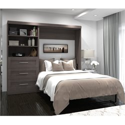 Bestar Pur Wall Bed with Storage in Bark Gray
