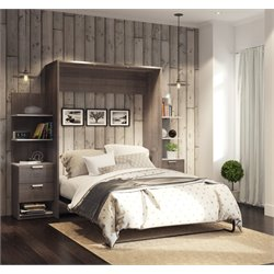 Bestar Cielo Elite Wall Bed Kit in Bark Gray 1