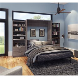 Bestar Cielo Premium Wall Bed Kit in Bark Gray 2