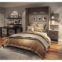 Bestar Cielo Elite Wall Bed Kit in Bark Gray