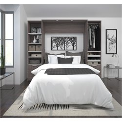Bestar Cielo Premium Wall Bed Kit in Bark Gray 1