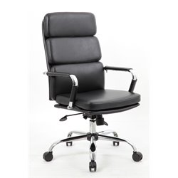 Bestar Clasica Leather Air Swivel Office Chair in Black