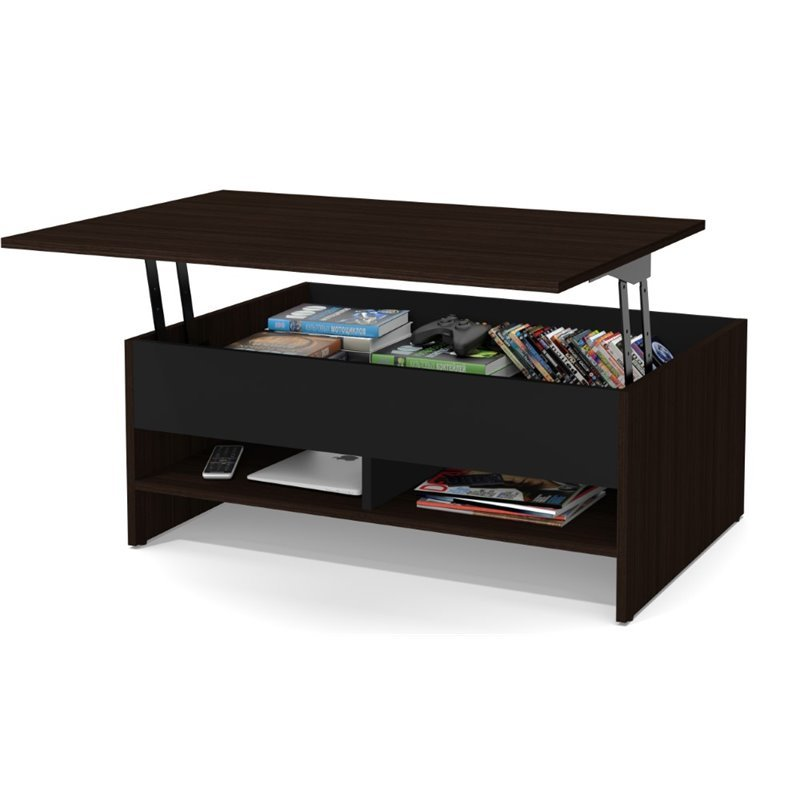 Bestar Small Space Lift Top Coffee Table In Dark Chocolate And Black 16160 1179