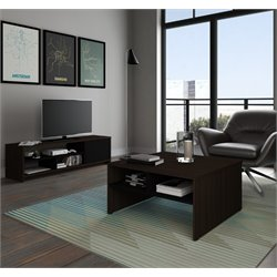 Bestar Small Space 2 Piece Coffee Table Set in Dark Chocolate