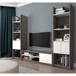 Bestar Small Space Entertainment Set in Bark Gray