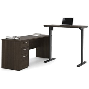Bestar Embassy Height Adjustable L-Shaped Computer Desk in Chocolate