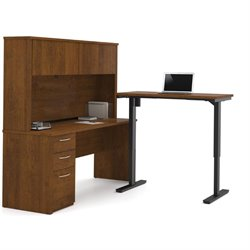 Bestar Embassy Height Adjustable L-Shaped Computer Desk with Hutch
