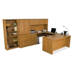 Bestar Embassy U-shaped Office Set in Cappuccino Cherry