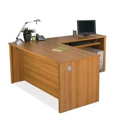 Bestar Embassy L-shape Computer Desk in Cappuccino Cherry